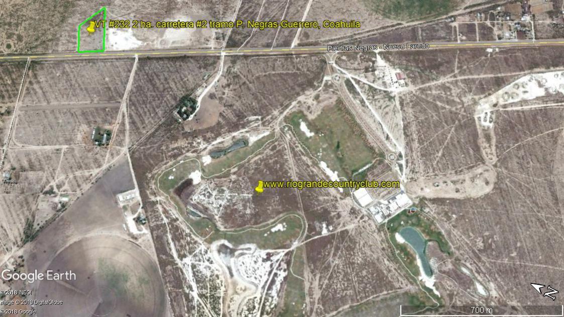 Venta de terreno Rustico Frente al Campo de Golf Rio Grande Country Club, carretera No. 2 tramo Piedras Negras-Guerrero Coahuila. (VT #232)