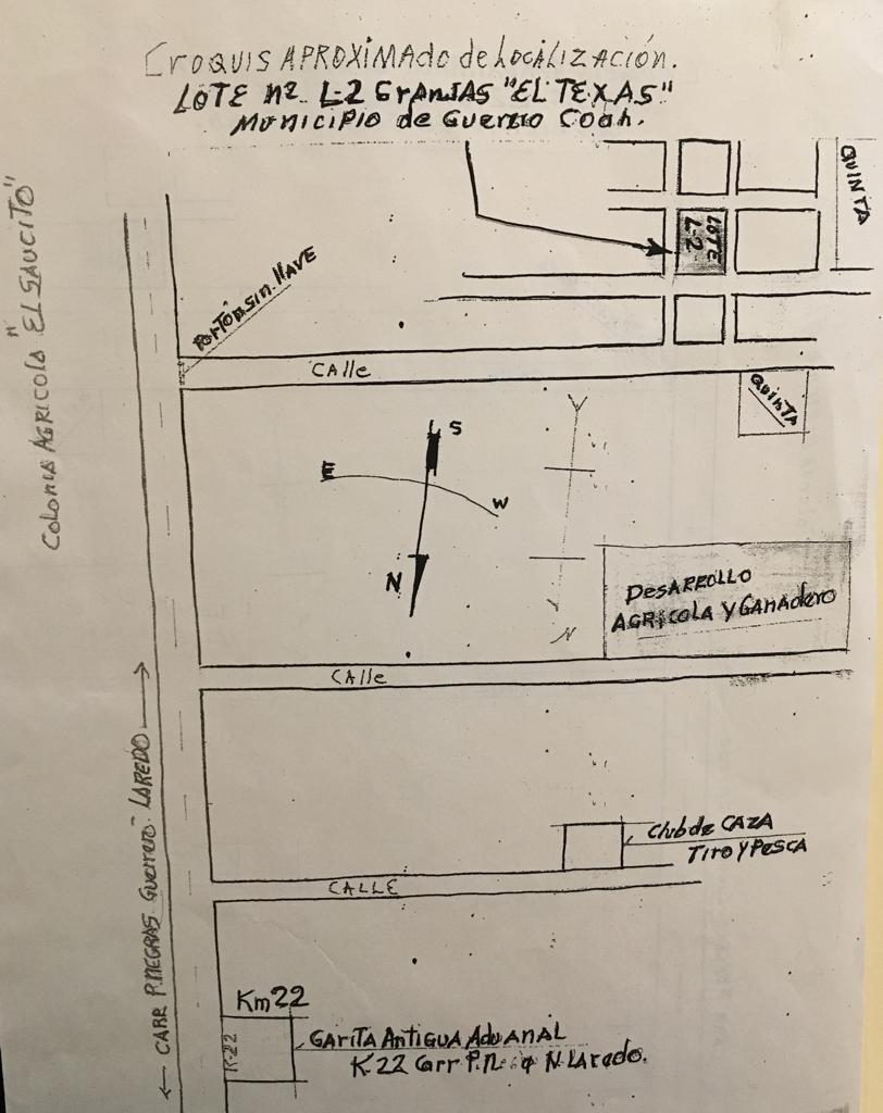 Venta de Terreno Rustico Carretera Piedras Negras-Nuevo Laredo Km 25 en Granjas el Texas, Municipio de Guerrero Coahuila (VT #237)