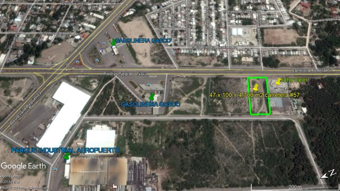 Renta Terreno Rustico 47 m x 100 m. sobre carretera #57 a Nava Coahuila, colinda con la John Deer.(RT #18)