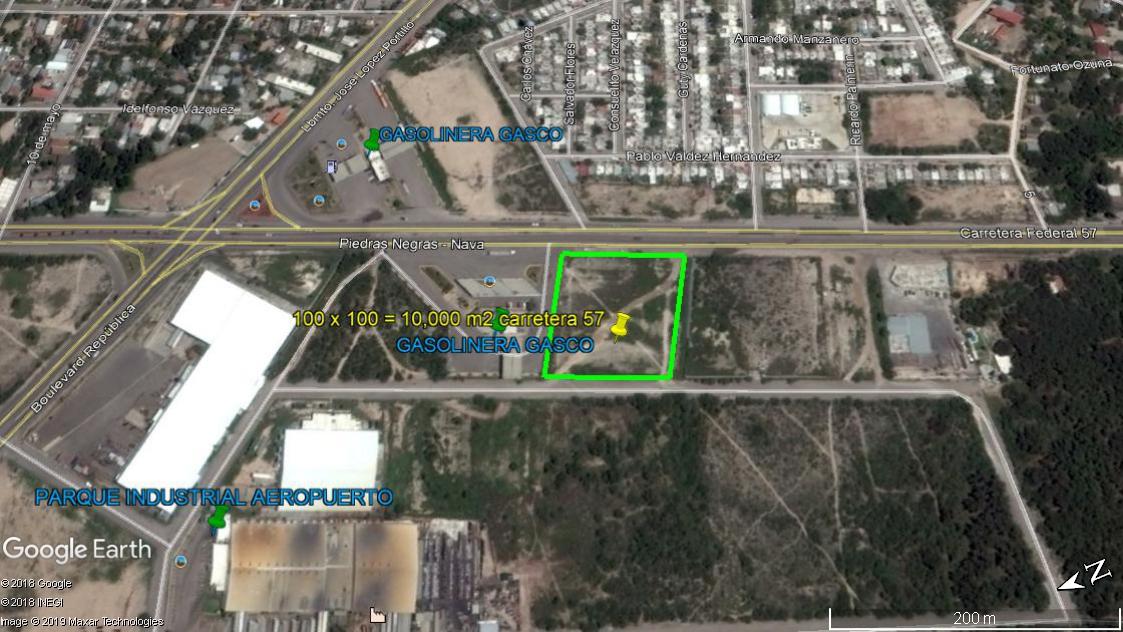 Renta Terreno Rustico Bardeado, 100 m x 100 m colinda con GASCO gasolineras sobre carretera #57 a Nava Coahuila.(RT #19)